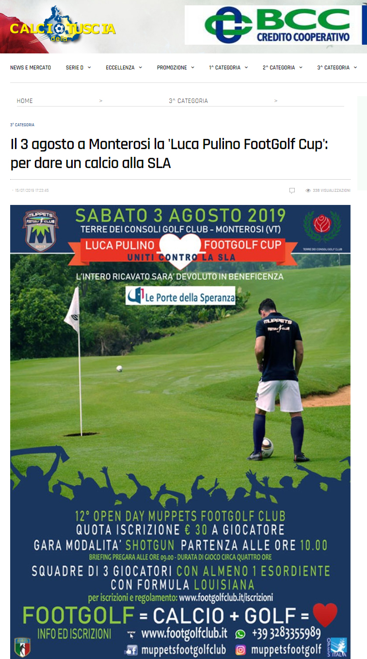 Il 3 agosto a Monterosi la 'Luca Pulino FootGolf Cup': per dare un calcio alla SLA