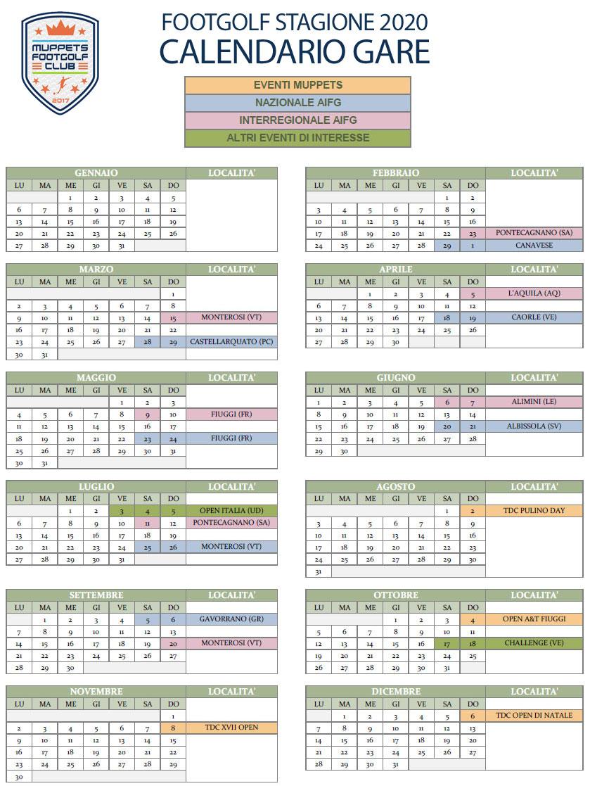 Calendario Gare FootGolf Stagione 2020